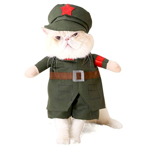 smalllee _ Lucky _ store Kleiner Hund Kleidung für Mädchen Jungen Katze Hund Soldat Kostüm mit Hut Military Coat alle Jahreszeiten grün (Jungen Hund Kostüme)