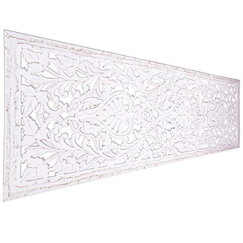 Orientalische Holz Ornament Wanddeko Azara 183cm gross XXL | Orientalisches Wandbild Wanpannel in Weiß als Wanddekoration | Vintage Relief als Dekoration im Schlafzimmer oder Wohnzimmer