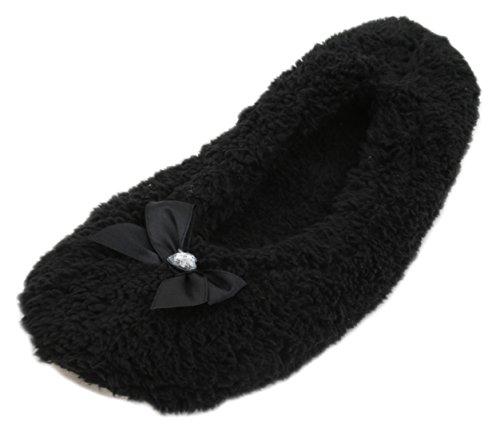 KS - Zapatillas de estar por casa para mujer, color negro, talla 3-4 UK