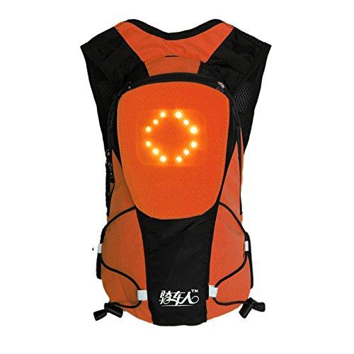 Bikeman 5L LED luminoso sicurezza attenzione direzione MTB/trekking zaino con indicatore di direzione, Orange
