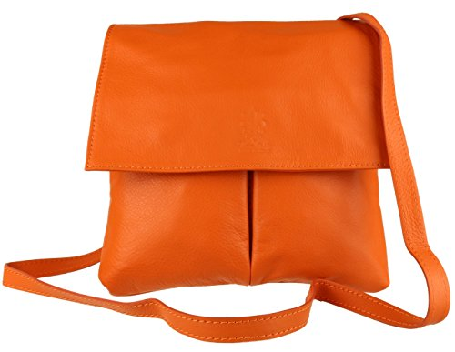 Leder Flap Shoulder Bag (Girly Handbags Doppel-Tasche aus italienischem Leder Messenger Bag Orange)