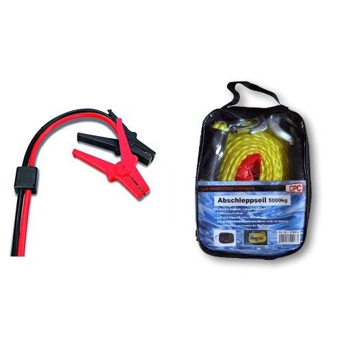 Preisvergleich Produktbild AEG Automotive 97216 Sicherheits-Starthilfekabel SP 25 mit Spannungsspitzenschutz in Aufbewahrungstasche, DIN 72553 und CG Car Professional 570307/96096  Abschleppseil, 5000 kg, Sortiert