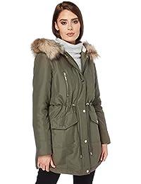 2ffe46b2f19d Roman Originals Women Faux Fur Parka Coat - Ladies Autumn Winter Warm  Casual Everyday Faux Fur Trim Jacket with Long Sleeves and…