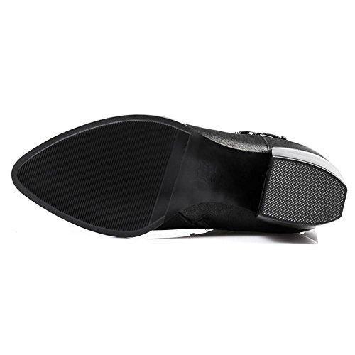 Hommes Cheville-sèche-linge Martin Bottes En Cuir Plat Chunky Talons Bas Doublé Chaud Confort Occasionnel Chaussures, 37 4-40