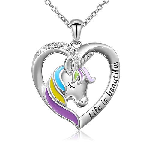 Flyow - Collar de plata de ley 925 con colgante de unicornio en forma de corazón con cadena de 45,7 cm, grabado en la vida es un hermoso regalo para mujeres y niñas