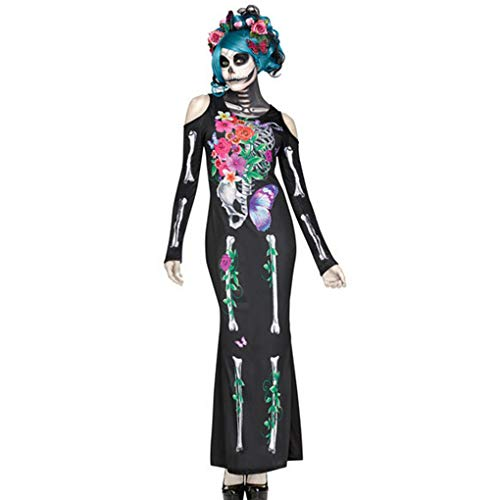 Parteien Spaß Kostüm - Frauen Gothic Halloween Maxikleid Kostüme beiläufige O-Ansatz Lange Hülsen-Skeleton Schädel-dünne Jumpsuits Drucken