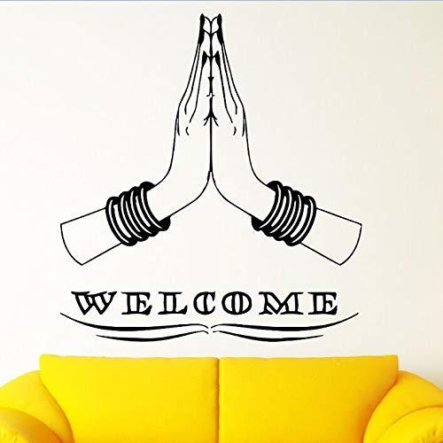 Willkommen zu Hause Wandaufkleber Indischen Hinduismus Stil Wandkunst Wand Hindu Hände Vinyl Wandtattoos Willkommen zu Hause Kunst Dekoration 57x62 cm (Mädchen Dekorationen Zu Hause Willkommen Baby)