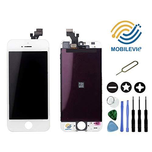 Mobilevie Ecran LCD Retina + Vitre Tactile sur châssis pour Iphone 5C Blanc + Outils