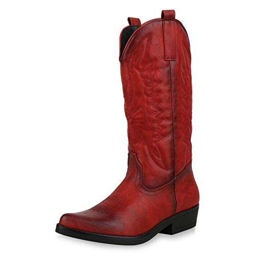 SCARPE VITA Damen Cowboystiefel Stickereien Western Stiefel Cowboy Boots 173420 Rot 37