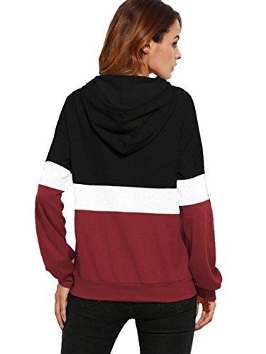 ROMWE Damen Farbblock Kapuzenshirt mit Kängurutasche Herbst Winter Shirt Hoodie Schwarz
