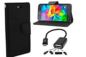 Relax&Shop Premium Flip Cover With OTG Cable For Nokia 730 - (Dark Black + OTG)