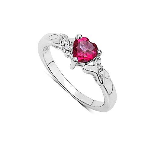 Rosa Topas Ring-Kollektion: Schöne Sterling Silber herzförmigen Verlobungs Rosa Topas Ring mit Diamant gesetzt Schultern, Ringgröße 53 (16.9) (Rosa Edelstein Ring)