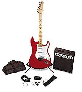 Pitchmaster Red Electric Guitar Package & Amplifier Kit with Tuner, Strings, Stand, Protective Bag, and Guitar Strap Complete Set
