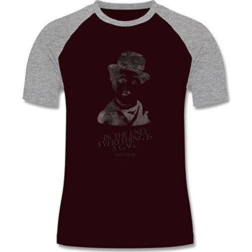 Vintage - Charlie Chaplin - in the end, everything is a gag - zweifarbiges Baseballshirt für Männer Burgundrot/Grau meliert