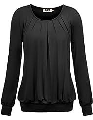DJT T-shirt Femme Manches longues Plisse Leger Col rond Elastique