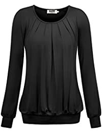 DJT Damen Langarmshirt Rundhals Falten T-Shirt Stretch Tunika Top
