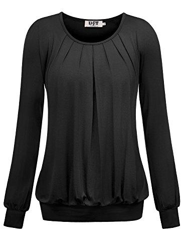 DJT Damen Langarmshirt Rundhals Falten T-Shirt Stretch Tunika Schwarz XL