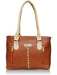 Fristo Two Zips Women's Handbag ( Tan And Cream)