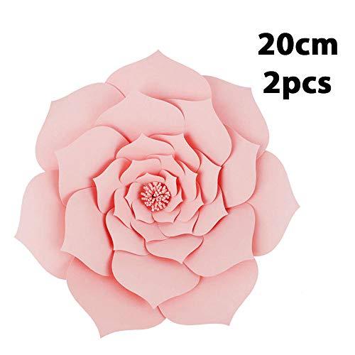 Bolange 2pcsdiy Papier stieg Hintergrundwand künstliche Blume 20cm Mode Papier 3 Größe stieg Hintergrund Papier Blume Hochzeit Dekoration - hellrosa