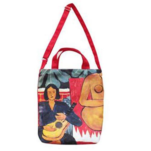 Mode tasche umhängetasche für frauen mädchen impression painting fresh style handtasche dual-used shopping top-griff tasche (frau und gitarre) - Impressionen Leinwand Kunst