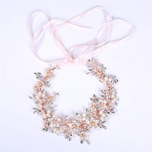 Queen Bandeau De Mariée Perle Bande De Cheveux Tiare Fleur D'alliage Coiffure - Or Rose -