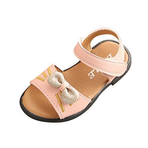 Sandalen für Baby Schuhe Kinderschuhe Schuhe für Kinder Kleinkind Sommer/Dorical Mädchen Cartoon-Katze Outdoor Sandalen mit Bowtie Casual Einzelnen Kunstlederschuhe 21-30 EU(Rosa,21 EU)