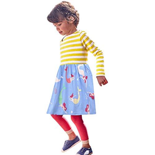 Karikatur Gestreift Kleid Kleinkind Kinder Mädchen Tier Drucken Outfits Kleidung