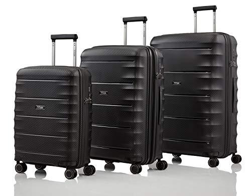 """TITAN Super Leichter Hartschalenkoffer \""""Highlight\"""" in 4 Größen im Carbon Look, Handgepäck mit Vortasche Koffer-Set, 75 cm, 218 Liter, Black"""