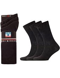 Chaussettes homme - 100 % coton - Noir - Pointure 39-45 - 12 paires