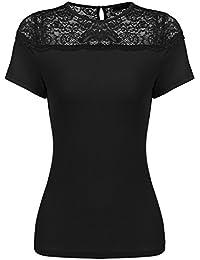 e69b81e5c10a81 Parabler Damen Kurzarm T-Shirt mit Floral Spitze Basic Shirt Spitzenshirt  Oberteil Tops Bluse Shirt