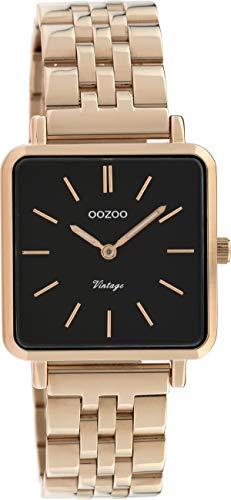 Oozoo Vintage Damenuhr mit Edelstahl Glieder Armband Quadratisch Flach 28 MM C9959