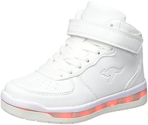 KangaROOS Unisex-Kinder K-LID Sneaker, Weiß (White), 35 EU (Jungs, Mädchen Blinken)