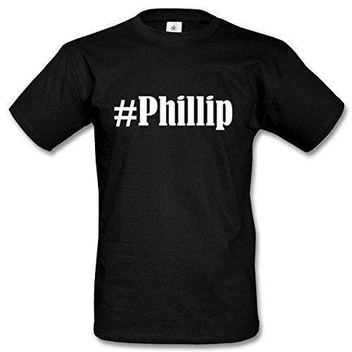 T-Shirt #Phillip Hashtag Raute für Damen Herren und Kinder ... in den Farben Schwarz und Weiss Schwarz