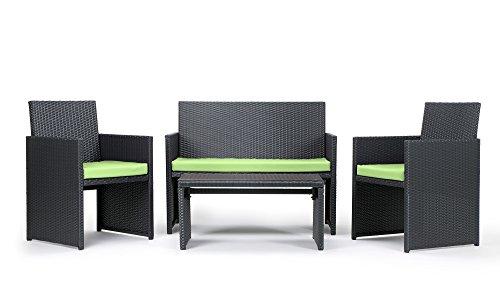 Rattan4Life 4-teilig Neapel Deluxe Polyrattan Gartenmöbel Set, Sofa / Lounge / Gartengarnitur / Kissenbezug, schwarz / grün