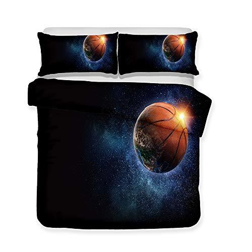 """Zhizhen - Juego de sábanas de Baloncesto con impresión 3D para Adolescentes, niños, NBA 18, Microfibra, Lq29, Single Size-53\""""x83\"""" fit for 90cm Bed"""