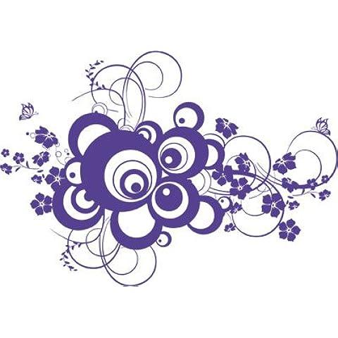 Tattoo adesivo parete adesivi Per soggiorno Retro dots cerchi e Fiori, Lavanda, 129x90cm
