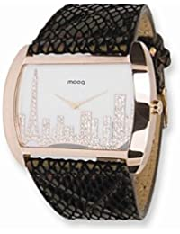 Caso Rose Moog Fashionista Skyline IP / correa de cuero del reloj - Moog Fashionista Skyline IP Rose Case/Leather Strap Watch
