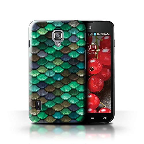 Stuff4® Hülle/Case für LG Optimus L7 II Dual/Knickente/Türkis Muster/Aquarell Meerjungfrau Skalen Kollektion (Dual L7 Case Lg Optimus Ii)