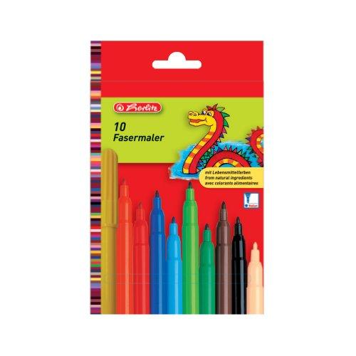 Herlitz 8649139 Fasermaler, 2 mm Spitze, 10 Stück mit Lebensmittelfarbe