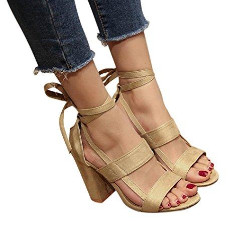 Hot Sale!Sandalen Damen, Sonnena Frauen Mode Sandalen Knöchel High Heels Block Party Offene Zehen Schuhe Solid/Square Heel/Knöchelriemen/Knöchel/Super Hoch/Gummi (Sexy Beige, 39)
