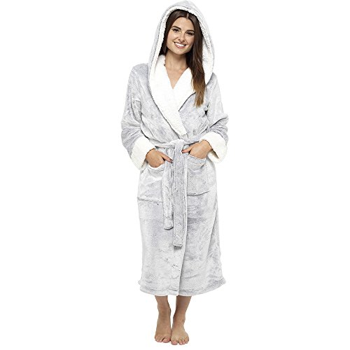 Bademantel Damen Super Soft Robe mit Fell gefütterte Kapuze Plüsch Bademantel für Frauen-perfektes Geschenk (M, grau) (Damen-bademantel Aus Plüsch)