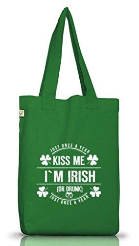 Irland St. Patrick's Day Jutebeutel Stoffbeutel Earth Positive Kiss Me I'm Irish Moss Green