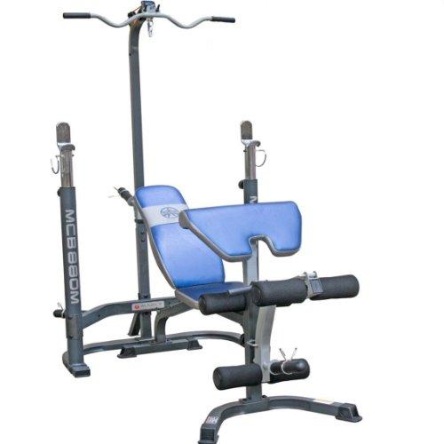 MARCY Fitness Hantelbank Olympische Bank mit Latzug Curlpult und Beincurl, 13MWB-MCB880M