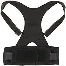 ROSENICE Corrector de Postura Espalda Faja para Espalda Lumbar Soporte de Espalda Ajustable para Hombre Mujer Negro Talla L