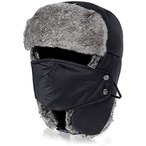 Vbiger Unisex Sombrero de invierno Sombrero de felpa Sombrero a prueba de viento Sombrero caliente Gorro antipolvo Sombrero de Esquí