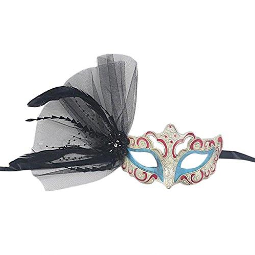 Venetian Damen Feder Maske Augenmaske Halloween Kostüm Modeschmuck Deko - Burgund, Blau