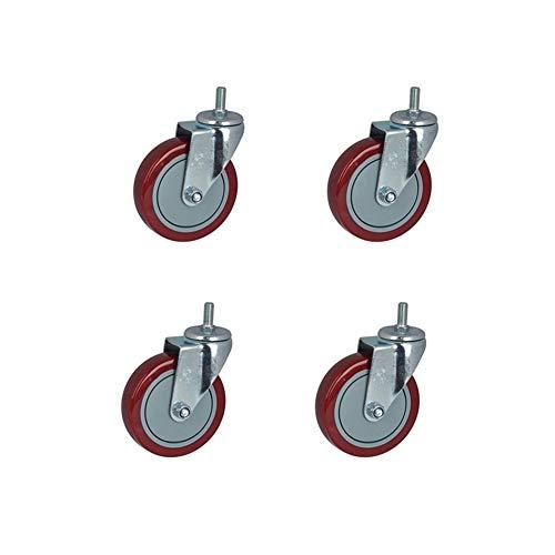 MuMa 4/6x Rollen 3/4/5 Zoll Rotes Polyurethan  Casters Möbel Rad Mechanisches Rad Industrieanlagen Rad 145kg (Color : Without Brake, Size : 5 inch 4 Pieces) -