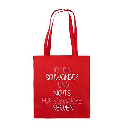 Comedy Bags - Ich bin Schwanger und nichts für schwache Nerven. - Jutebeutel - lange Henkel - 38x42cm - Farbe: Schwarz / Weiss-Neongrün Rot / Rosa-Weiss