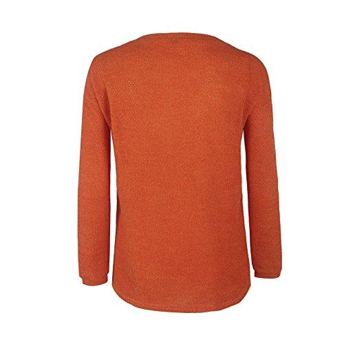 BIUBIONG Maglia Maglione Da Donna Maglietta Blouse Scollo a V Di 10 Colori(S-XL) Arancione