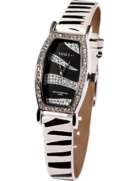 Time100 Charakteristische Scheinende Strass-Damen-Armbanduhr mit Leopard-Lederband W50042L.01A